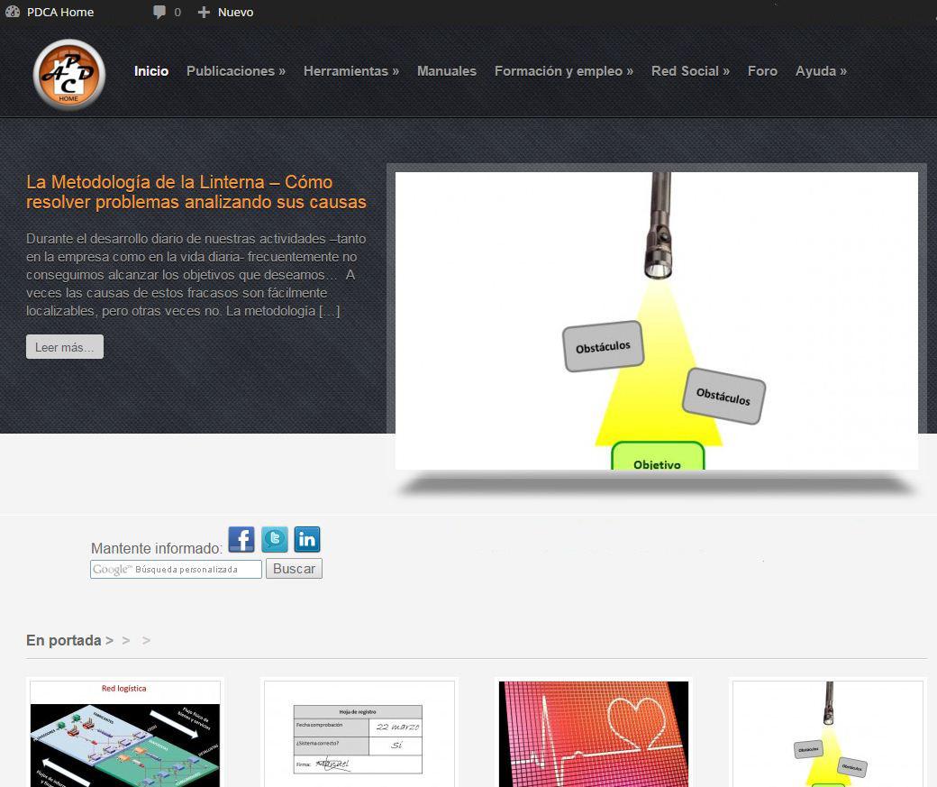 Portada de la web, con la barra superior de usuario